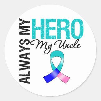 Thyroid Cancer ALWAYS MY HERO MY Uncle Round Stickers