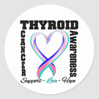 Thyroid Cancer Awareness Brushed Heart Ribbon Classic Round Sticker