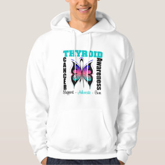 Thyroid Cancer  Awareness Butterfly Hooded Pullover