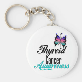 Thyroid Cancer Awareness Butterfly Keychain