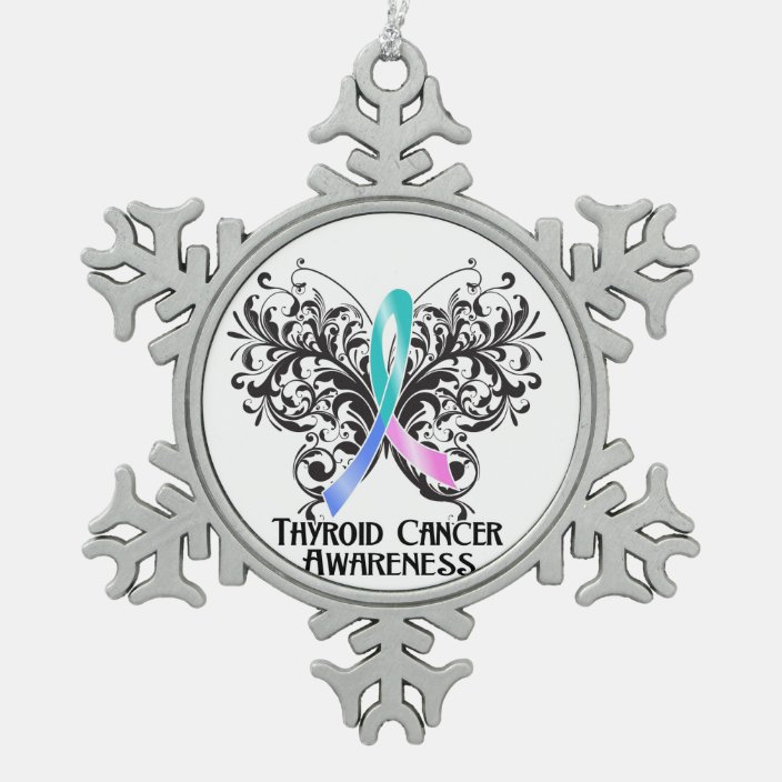 Thyroid Cancer Awareness Butterfly Snowflake Pewter Christmas Ornament Zazzle Com