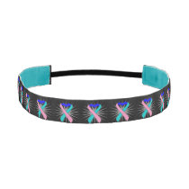 Thyroid Cancer Awareness Heart Ribbons Athletic Headband