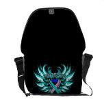 Thyroid Cancer Awareness Heart Wings Messenger Bags