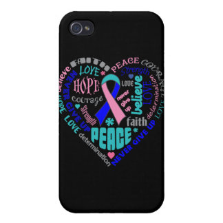 Thyroid Cancer Awareness Heart Words Case For iPhone 4
