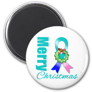 Thyroid Cancer Awareness Merry Christmas Ribbon 2 Inch Round Magnet