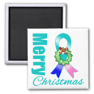 Thyroid Cancer Awareness Merry Christmas Ribbon 2 Inch Square Magnet