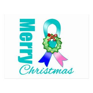 Thyroid Cancer Awareness Merry Christmas Ribbon Postcard
