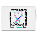 Thyroid Cancer Awareness Month Grunge Heart Ribbon Greeting Card