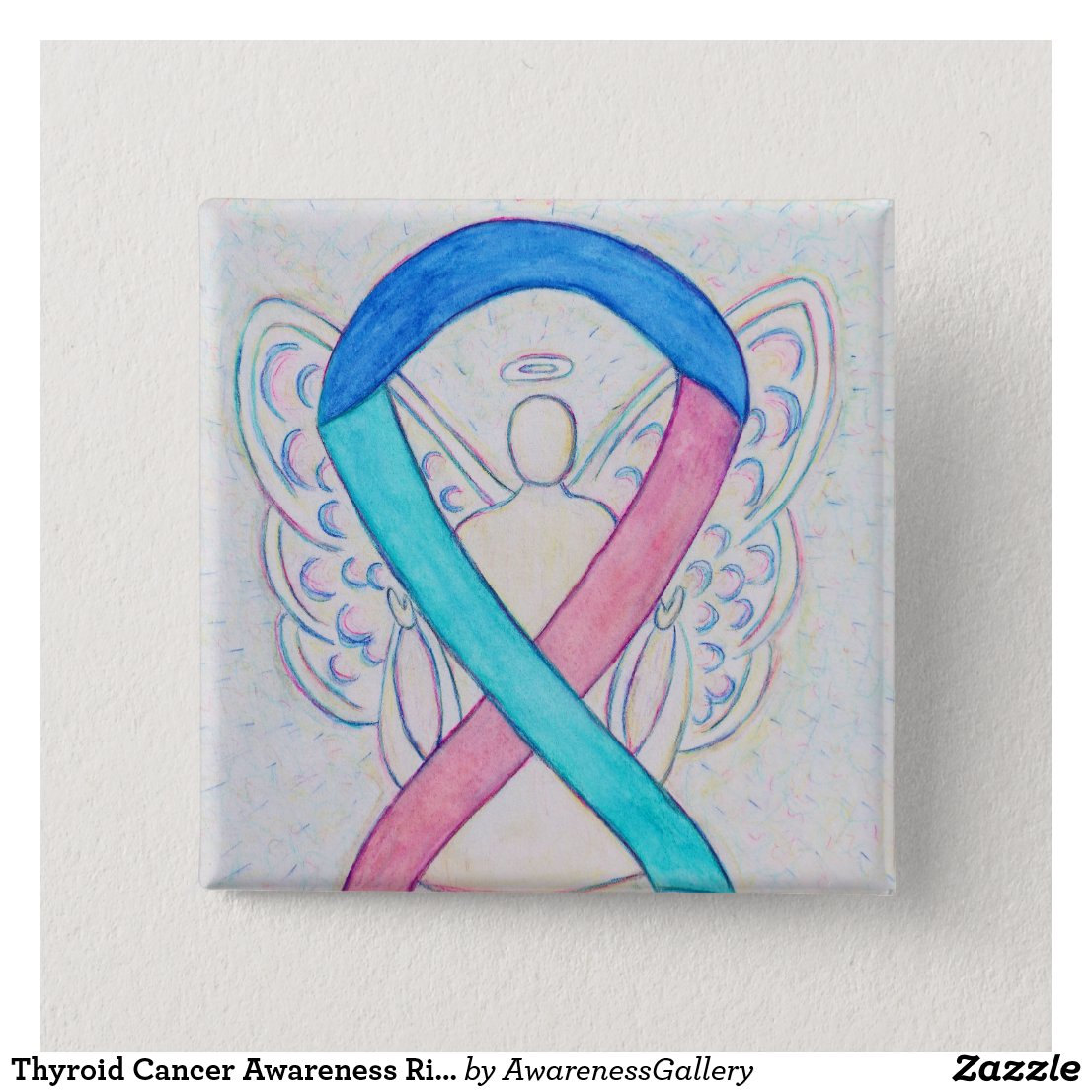 Thyroid Cancer Awareness Ribbon Angel Button Pins
