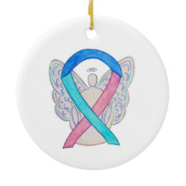 Thyroid Cancer Awareness Ribbon Angel Ornament
