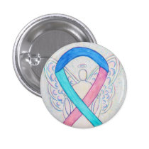 Thyroid Cancer Awareness Ribbon Angel Pin Buttons