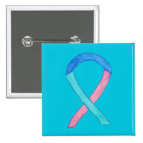 Thyroid Cancer Awareness Ribbon Custom Button Pins
