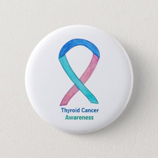 Thyroid Cancer Awareness Pink Teal Blue Ribbon Custom Buttons And