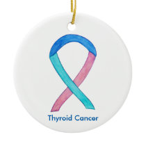 Thyroid Cancer Awareness Ribbon Holiday Ornaments