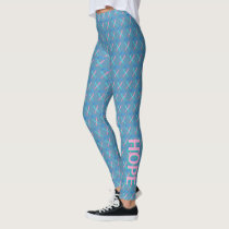Thyroid Cancer Awareness Ribbon Words Leggings