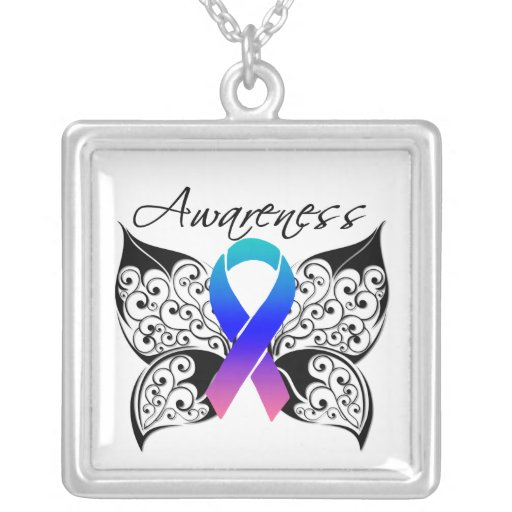 Thyroid Cancer Awareness Tattoo Butterfly Square Pendant Necklace