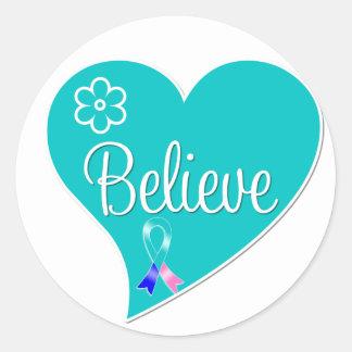 Thyroid Cancer Believe Heart Round Sticker