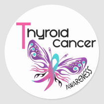 Thyroid Cancer BUTTERFLY 3.1 Classic Round Sticker
