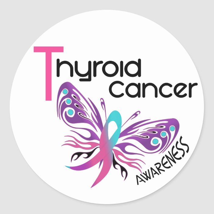 Thyroid Cancer Butterfly 3 1 Classic Round Sticker Zazzle Com