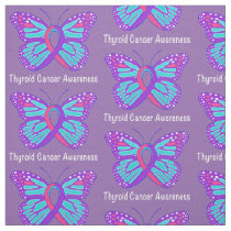 Thyroid Cancer Butterfly Awareness Ribbon Fabric