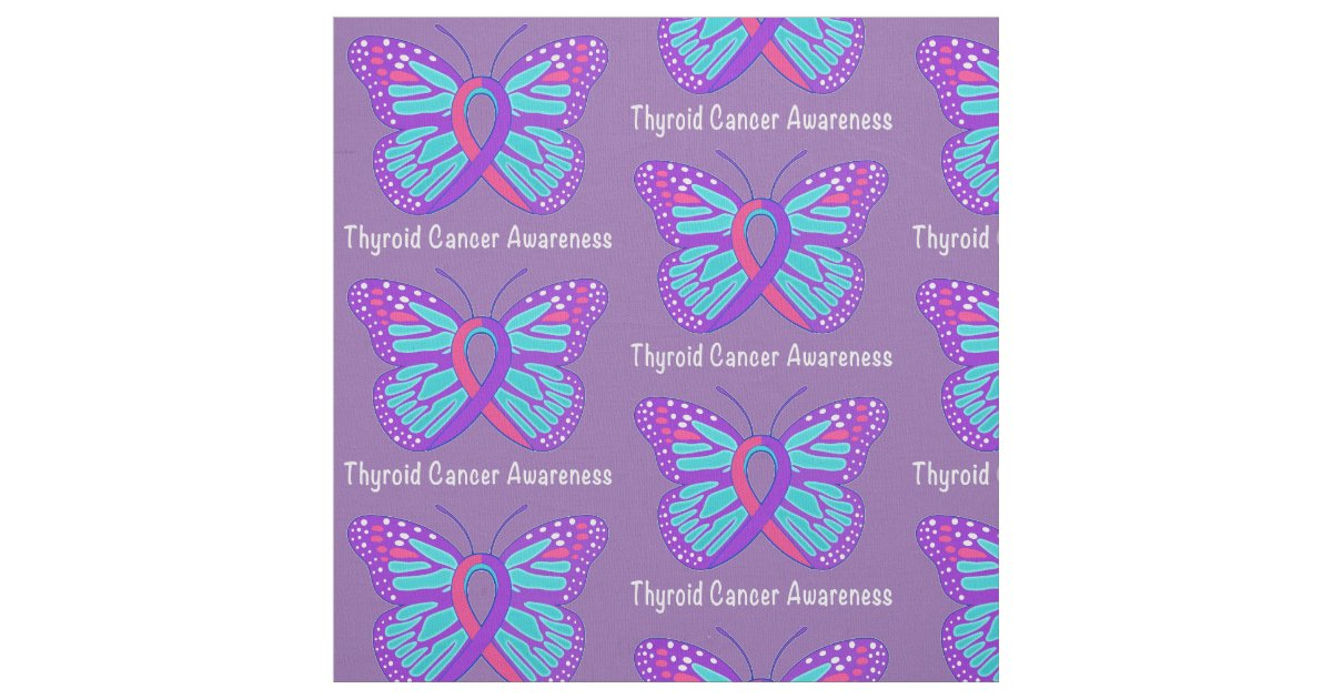 Thyroid Cancer Butterfly Awareness Ribbon Fabric Zazzle Com
