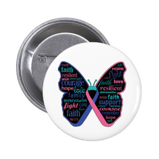Thyroid Cancer Butterfly Collage of Words 2 Inch Round Button