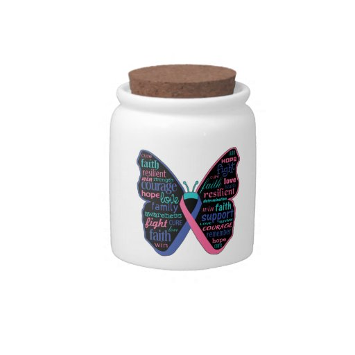 Thyroid Cancer Butterfly Collage of Words Candy Dishes