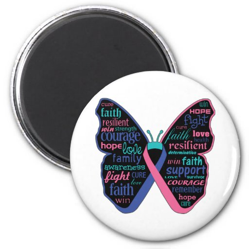 Thyroid Cancer Butterfly Collage of Words Fridge Magnet
