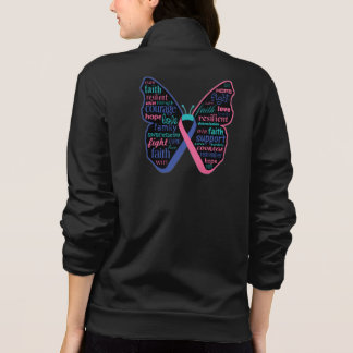Thyroid Cancer Butterfly Collage of Words Printed Jacket