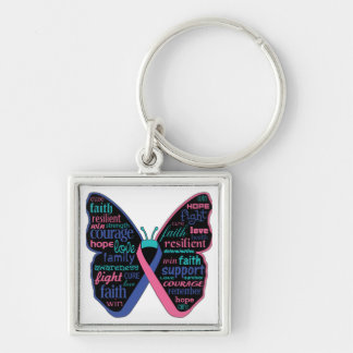 Thyroid Cancer Butterfly Collage of Words Silver-Colored Square Keychain