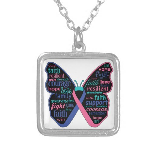 Thyroid Cancer Butterfly Collage of Words Square Pendant Necklace