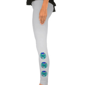 Thyroid Cancer Butterfly Heart Ribbon Legging Tights