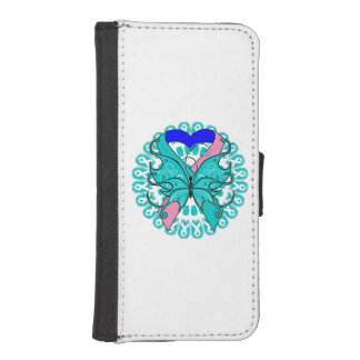 Thyroid Cancer Butterfly Heart Ribbon iPhone 5 Wallet Case