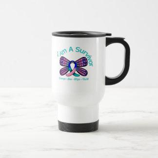 Thyroid Cancer Butterfly I Am A Survivor 15 Oz Stainless Steel Travel Mug
