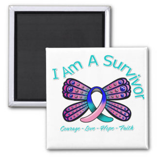 Thyroid Cancer Butterfly I Am A Survivor 2 Inch Square Magnet