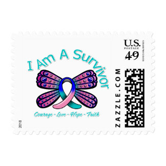 Thyroid Cancer Butterfly I Am A Survivor Postage