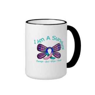 Thyroid Cancer Butterfly I Am A Survivor Ringer Coffee Mug