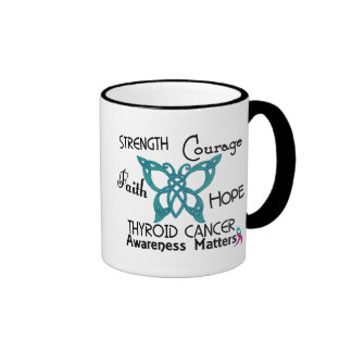 Thyroid Cancer Celtic Butterfly 3 Ringer Coffee Mug