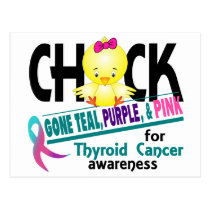Thyroid Cancer Chick Gone Teal, Purple, And Pink 2 Postcard