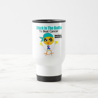 Thyroid Cancer Chick In The Battle to Beat Cancer 15 Oz Stainless Steel Travel Mug