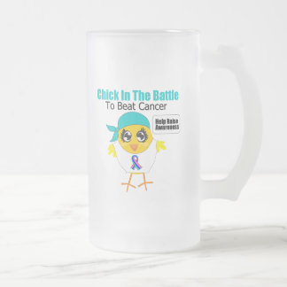 Thyroid Cancer Chick In The Battle to Beat Cancer 16 Oz Frosted Glass Beer Mug