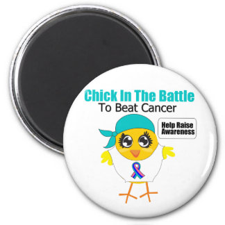 Thyroid Cancer Chick In The Battle to Beat Cancer 2 Inch Round Magnet