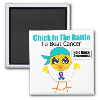 Thyroid Cancer Chick In The Battle to Beat Cancer 2 Inch Square Magnet