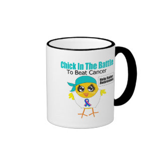 Thyroid Cancer Chick In The Battle to Beat Cancer Ringer Coffee Mug