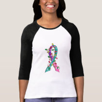Thyroid Cancer Christmas Lights Ribbon T-Shirt