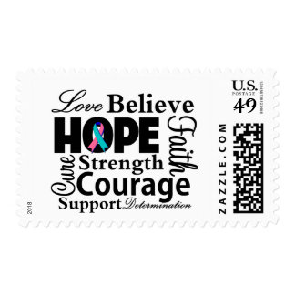 Thyroid Cancer Collage of Hope Postage Stamps