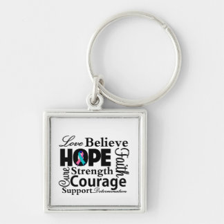 Thyroid Cancer Collage of Hope Silver-Colored Square Keychain