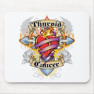 Thyroid Cancer Cross & Heart Mouse Pad