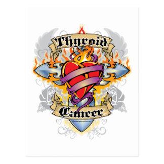 Thyroid Cancer Cross & Heart Postcard