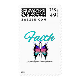 Thyroid Cancer Faith Butterfly Ribbon Postage Stamps